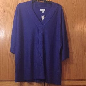 26/28 purple sweater cable knit NWT 3/4 sleeve